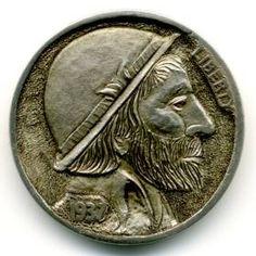 Steve Ellsworth - Leonardo Montañas Hobo Nickel, Modern Artists, Coincidences, Coin Collecting, Skull Art, Marvel Comics, Coins, Xmen, Skulls