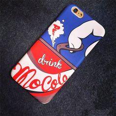 MOSCHINO男性メンズ芸能人愛用缶デザインiphone6S/7/7 Plusケース コーラ アイフォン6splusマット素材保護カバー落書き柄かっこいい