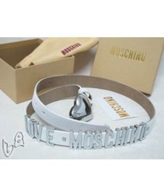 Moschino LOVE MOSCHINO Silver Small Leather Belts Wite