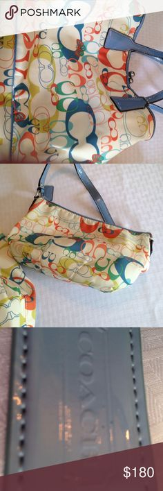 Coach Mother Daughter Purses This Coach hobo purse has a matching smaller size bag. They are a mother/daughter combination. The purses are cream with sky blue leather accents. Colors in the print include green, yellow, orange and blue. The big purse is separated into two large pockets with a snap pocket between them. It is in like new condition. The smaller bag has staining on the inside, but looks good on the outside. I can sell separately if needed. Coach Bags Hobos