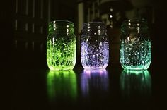 """""""Fire flies in a jar"""" fill a jar with water,cut a glow stick in half and dump the contents in jar,add glitter and shake who new!"""
