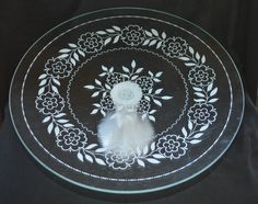 White and Clear Glass Floral Cake Plate by TreasureTroveDecor on Etsy