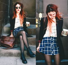 Lua P - Shellys London Shoes, Blu Boutique Skirt, High Heel Suicide Tee - Monday Mornings | LOOKBOOK