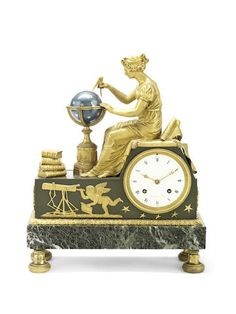 A 19th century French gilt bronze and Verde Antico marble figural mantel clock after a design by Jean-Andre Reiche (1752-1817), the dial signed Sauvage a Paris