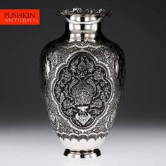 ANTIQUE 20thC RARE PERSIAN ISLAMIC SOLID SILVER MAGNIFICENT VASE, ISFAHAN c.1900