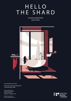 Tom Haugomat Posters for South Bank Hotel London - Tiphaine-illustration  #hotel #southbanktower #poster