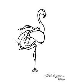"flamant ""rose"", pink flamingo, modèle pour tatouage, tattoo design..."