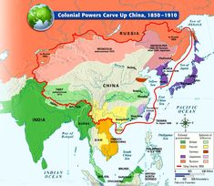 China: foreign intervention-The Chinese claim to Tibet may be controversial but as far as I know, there is no claim to Mongolia or Korea as shown here. Historical Art, Historical Pictures, History Class, World History, Boxer Rebellion, China Map, India Map, Old World Maps, Alternate History