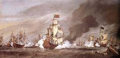 """Toen in 1952 de 1ste Engels-Nederlandse oorlog uitbrak, riep De Admiraliteit van Zeeland de Ruyter op.Hij werd vice-commandeur (onderbevelhebber) onder vice-admiraal Witte de With; tijdens diens afwezigheid voerde hij, op zijn vlaggeschip de Kleine Neptunis, een eskader aan dat op 23 augustus 1652 in de Slag bij Plymouth """"admiraal"""" (General-at-Sea) George Ayscue versloeg in Het Kanaal."""