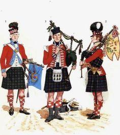 "Cornamusa del rgt. ""Reay Fencibles"" cornamusa 1/7 rgt. ""Gordon Highlanders"" e cornamusa della compagnia leggera 42 rgt. ""Royal Highlanders"""