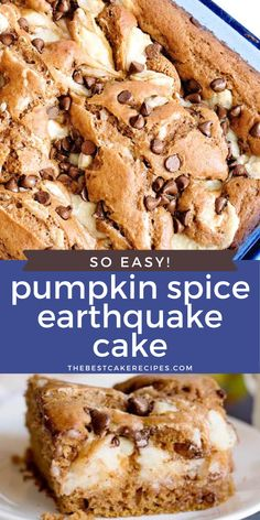 This easy pumpkin spice earthquake cake starts with a spice cake mix and has a creamy cheesecake layer swirled in the cake batter. Top with a few chocolate chips for a delicious easy pumpkin dessert.