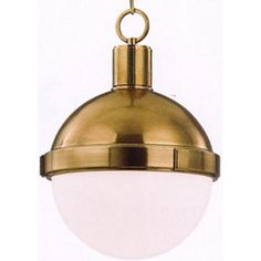 """Lambert Pendant with Aged Brass Finish by Restoration Warehouse. Available in Small, Medium and Large. *Image #2 is for demonstration purposes only.   Sm: Bulb (1) 75 w/m - Med: Bulb (1) 100 w/m - Lg: Bulb (1) 150 w/m; Canopy: 5 1/2""""D"""