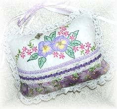 Pansy Hanging Ornament Hand Embroidered Home Decor by Kittyandme, $28.00