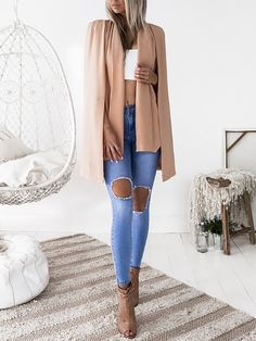 fa5b0661ca08 Trendy Cape Sleeve Blazer Coat Fashion Outfits