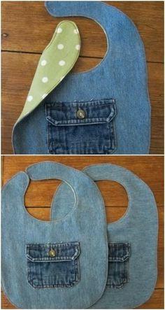 bavoir pour bébé avec un vieux jean