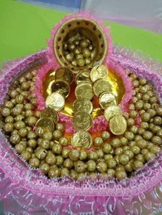 Thali Decoration Ideas, Fruit Decorations, Diwali Decorations, Indian Wedding Decorations, Basket Decoration, Balloon Decorations, Wedding Gifts For Bridesmaids, Best Wedding Gifts, Silver Pooja Items