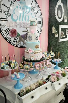 Side-view of a dessert table from an Alice in Wonderland Birthday Party on Kara's Party Ideas | KarasPartyIdeas.com (44)