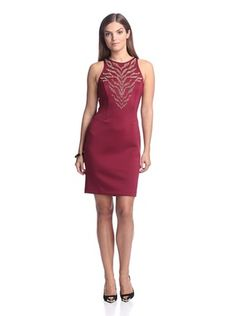 Alexia Admor Women's Ponte Dress with Beaded Bodice (Burgundy/Gold)