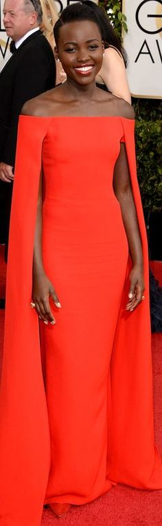 "Lupita Nyong'o in Ralph Lauren | Golden Globes  ~ ""Luxuriously Gorgeous with Class"""