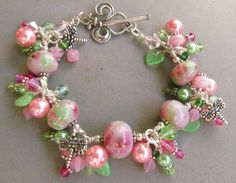 Pink and Green Lampwork Beaded Bracelet Handmade by by Harleypaws, $125.00