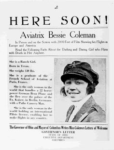 Announcement for bessie coleman flying event. Bessie Coleman, Female Pilot, History Classroom, You Go Girl, Texas History, Early American, Flirting, Announcement, Reading