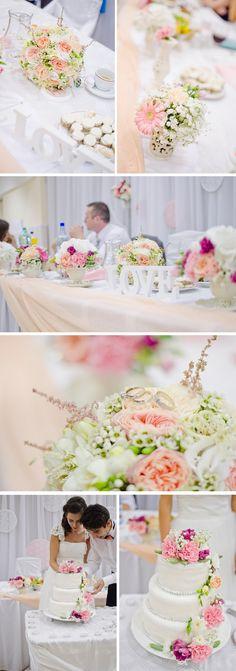 cream, pink and peach wedding decor  http://bloominglightphotography.com/