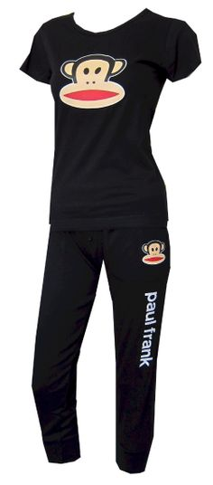 Clean and classic, these pajamas for women feature a hip length black Julius crew neck tee paired with a cropped wide elastic waist athletic style pant. The pants have two pockets, faux button detailing on the fly and a cuffed leg. Machine washable and easy care. Junior cut. $28.00