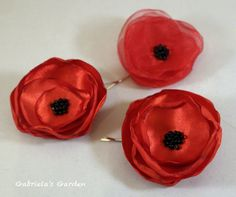 Valentine's Bobby Pins Brooch Satin and Organza by GabrielasGarden, £10.00
