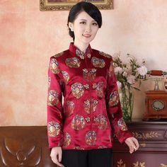 Adorable Brocade Traditional Tang Jacket - FU Claret - Chinese Jackets & Coats - Women