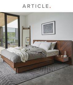 Modern Bedroom Design, Master Bedroom Design, Bedroom Bed, Contemporary Bedroom, Home Decor Bedroom, Bed Design, Bedroom Minimalist, Mid Century Modern Bedroom, Bed Platform