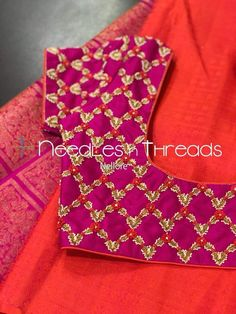 53 Trendy ideas for embroidery dress diy sweets Hand Work Blouse Design, Simple Blouse Designs, Stylish Blouse Design, Bridal Blouse Designs, Pattu Saree Blouse Designs, Sari Blouse, Designer Blouse Patterns, Dress Patterns, Diana