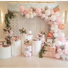 This beautifully styled baby shower used a very balanced medley of tables to display the cake and other sweet treats. The balloon garland and flowers are a wonderful touch. ・・・ Party by Birthday Table, 15th Birthday, Baby Birthday, Birthday Ideas, Birthday Party Celebration, Birthday Party Decorations, Birthday Parties, 30th Party, Wedding Decorations