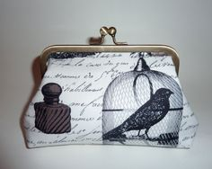 Black and white Edgar raven clutch bag by MercurioMillinery, £20.00