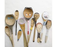 spoon puppets - OMG - how cute would  a colllage of these be on a kitchen wall?  Or for a bridal shower - each guest makes one for the new bride for her kitchen.