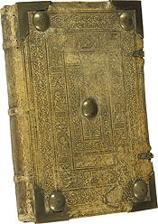 This 15th century binding shows the care and craftsmanship that went into the production of manuscript books. This manual would have had to withstand frequent handling for liturgical services. The metal bosses on its elaborately tooled leather cover were designed to absorb most of the wear.  Benedictional. Germany, mid-15th century.