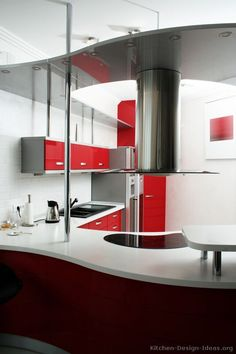 Idea of the Day: Modern red hot-rod kitchen with curved cabinets. Bright Kitchens, Cool Kitchens, Modern Kitchens, Red Kitchen Cabinets, Kitchen Sinks, Kitchen Pictures, Kitchen Ideas, Modern Kitchen Design, Kitchen Designs