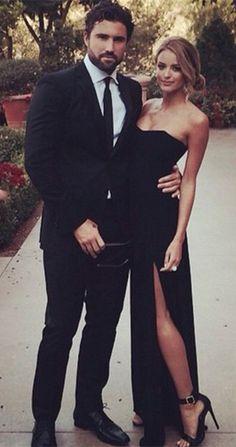 black prom dress, long prom dress, side slit prom dress, evening dress, 2017…