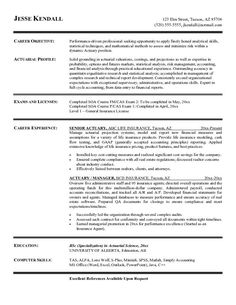 enjoy our sample resumes - Actuarial Science Resume Examples