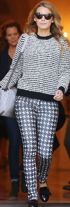 Blake Lively: Sweater and pants – Isabel Marant  Purse and sunglasses – Chanel  Shoes – Christian Louboutin