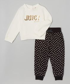 Another great find on #zulily! Ivory & Black Logo Sweatshirt & Joggers - Infant, Toddler & Girls #zulilyfinds