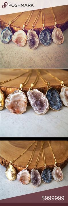 ❤️Coming Soon!❤️ Druzy Geode Gold Dipped necklace Coming soon! Gorgeous Geodes sparkle on gold plated chain and Geodes also take a dip in the gold but leaves the Druzy to shine! Gorgeous!!! Handcrafted in the US Jewelry Necklaces