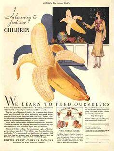Chiquita Bananas Advertisement circa 1930s #vintage #Chiquita #bananas  Chiquita bananas are at the head of the class!
