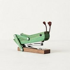 "Anthropologie - Grasshopper Stapler - Pine wood, iron3""H, 5.25""WImported"