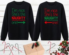Nice and Naughty Matching Best Friend Sweater, Matching Bff Christmas Shirt, Twin Sisters Christmas Gift, Bff Christmas Shirt, Bff Xmas Gift Friends Christmas Sweater, Matching Christmas Sweaters, Christmas Gifts For Sister, Easy Diy Christmas Gifts, Christmas Pjs, Christmas Outfits, Best Friend Sweatshirts, Friends Sweatshirt, Bff Shirts