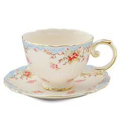 2 Vintage Blue Rose Porcelain Teacups and Saucers (2 Tea Cups & 2 Saucers)