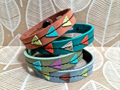 Tiny Triangle Leather Bracelet Stitched in Assorted by Hollyhawk