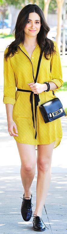 Who made Emmy Rossum's black handbag and yellow button down dress