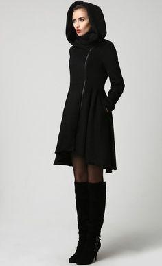 Womens Black Wool Midi Coat with Hood 1121 by xiaolizi on Etsy