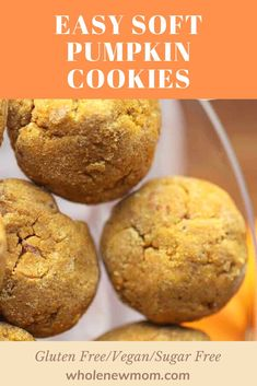 hese Soft Pumpkin cookies are simple and quick to make with this homemade easy recipe. And they are gluten free, vegan and sugar free! One bite won't be enough of these. They are delicious with and without frosting Gluten Free Pumpkin Cookies, Soft Pumpkin Cookies, Gluten Free Desserts, Healthy Desserts, Vegan Gluten Free, Easy Recipes, Vegan Recipes, Easy Meals, Pumpkin Custard