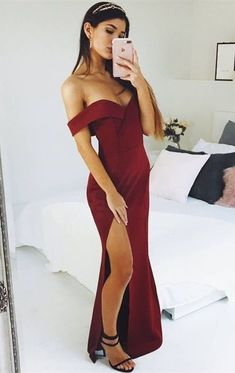simple off the shoulder long prom dresses,sexy leg split burgundy prom party dress by Miss Zhu Bridal, $130.32 USD